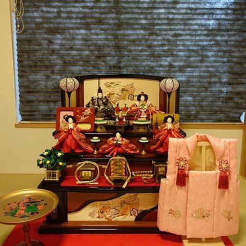 ひな人形 木製三段五人飾り