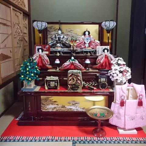 久月 木製三段五人飾り ひな人形