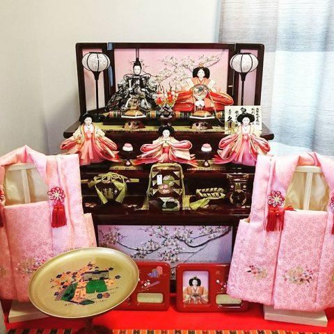 収納三段五人飾り 久月 ひな人形