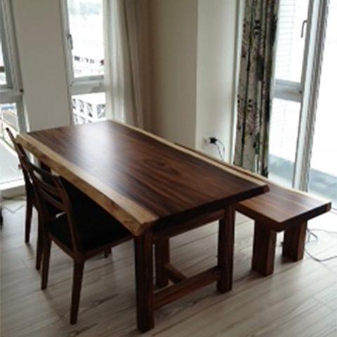 モンキーポッド 一枚板テーブルセット