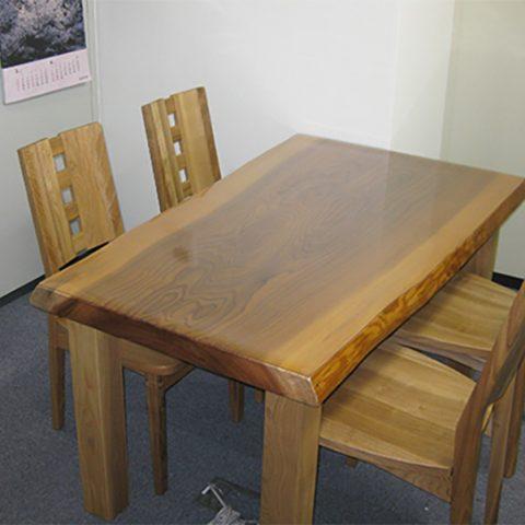 天然木 一枚板テーブル チェア