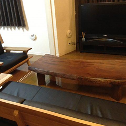一枚板テーブル ソファ