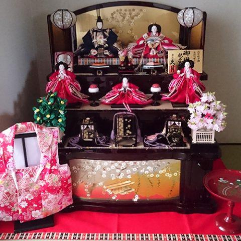 久月 ひな人形 木製三段五人飾り