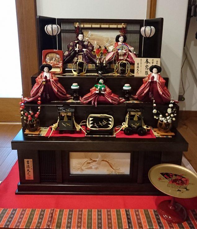 吉徳大光 ひな人形 収納三段五人飾り