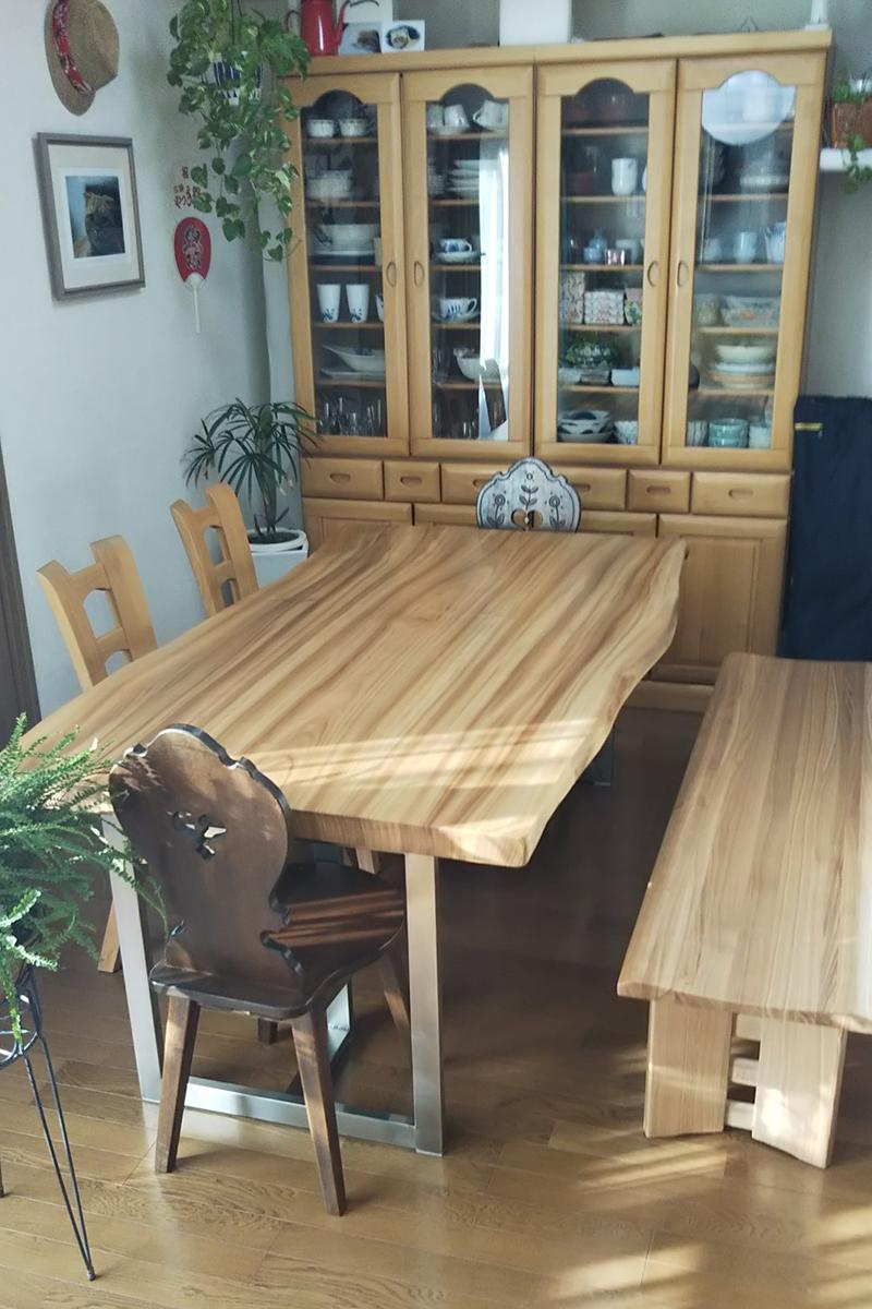 楠の一枚板ダイニングテーブルセット