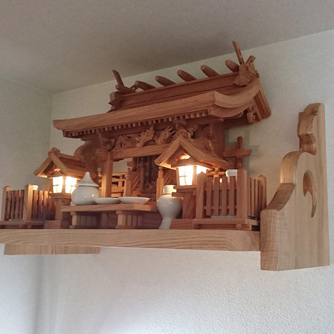 流れ屋根三社 欅 神棚セット