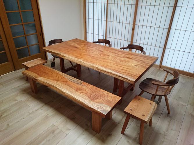 一枚板ケヤキのダイニングテーブルセット