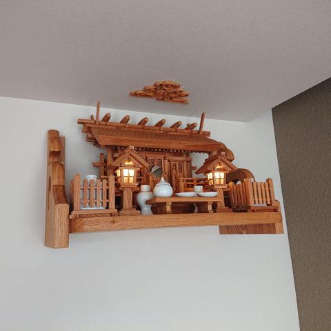 神棚セット 彫屋根三社ケヤキ