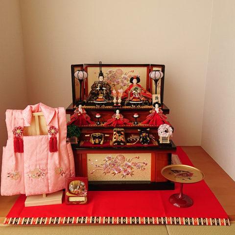 ひな人形 収納三段五人飾り飾り
