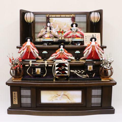 吉徳大光 ひな人形 木製三段五人飾り