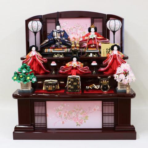 東玉 ひな人形 木製三段五人飾り