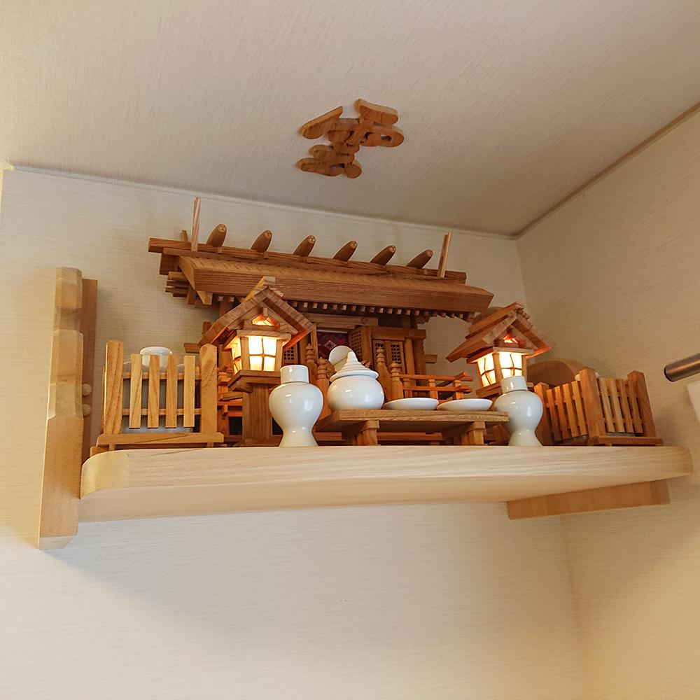 神棚セット 彫屋根三社欅セット