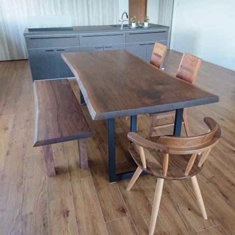 一枚板ダイニングテーブルセット ブラックウォルナット