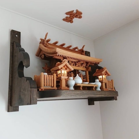 神棚 流れ屋根三社 欅