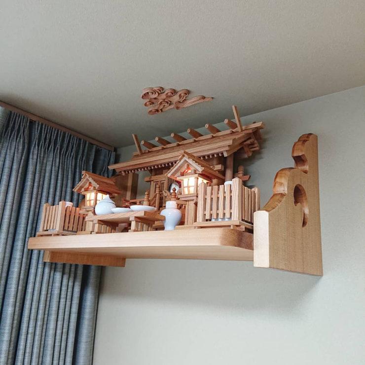 板屋根三社 欅 神棚セット