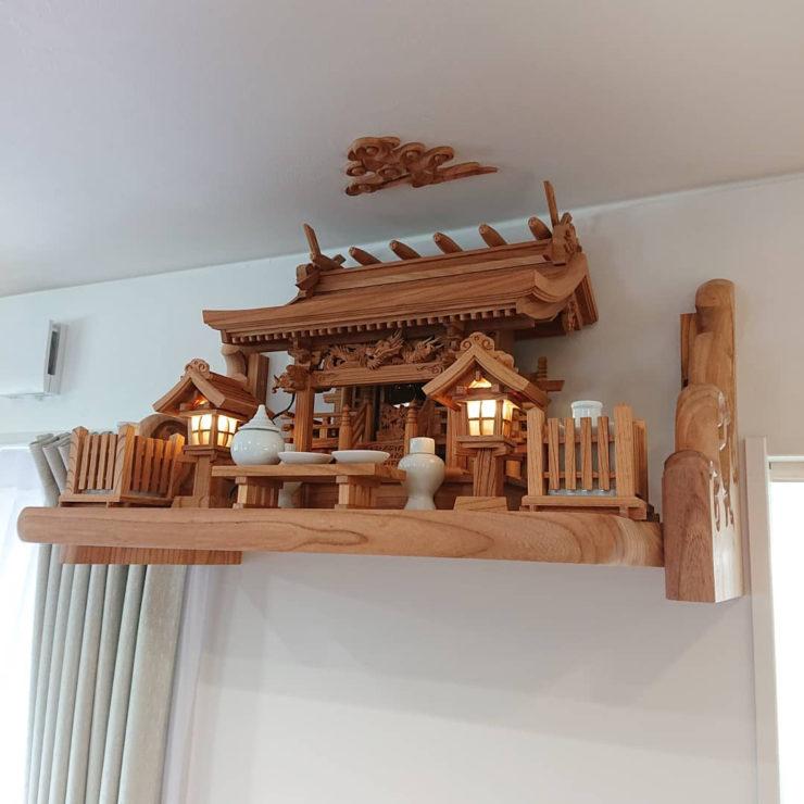総欅 流れ屋根三社神棚セット