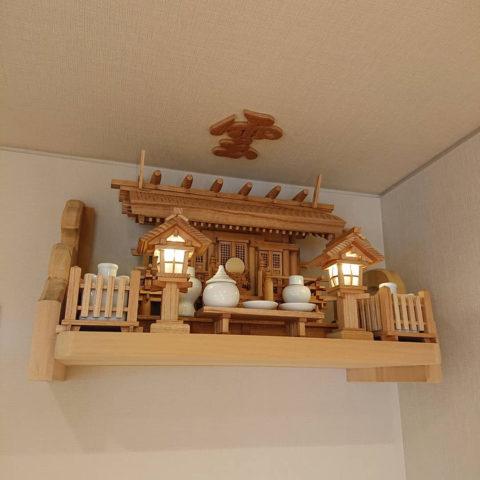彫屋根三社 欅 神棚セット