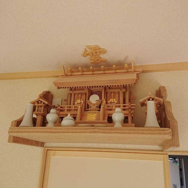 桧 彫屋根三社神棚セット