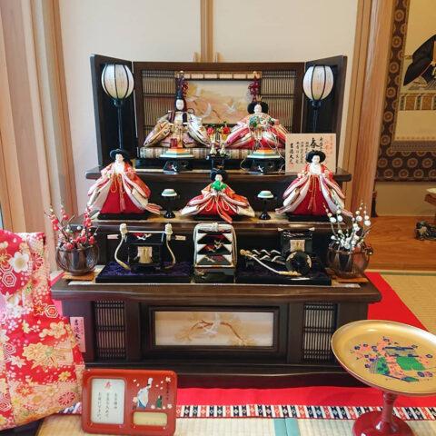 吉徳大光 木製三段五人飾り ひな人形