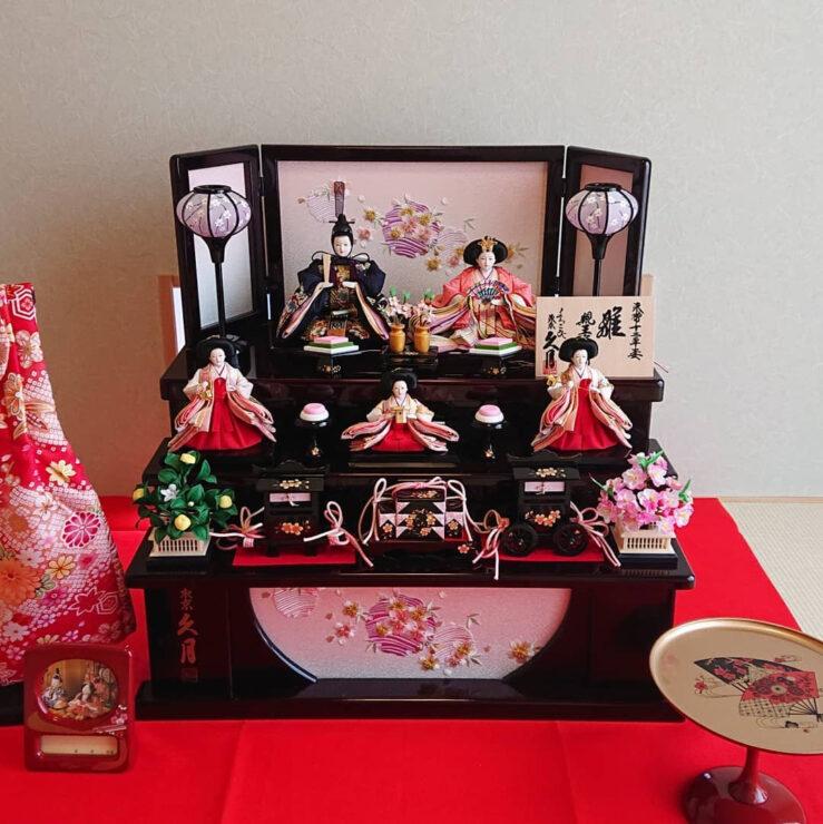 久月 収納三段五人飾り ひな人形