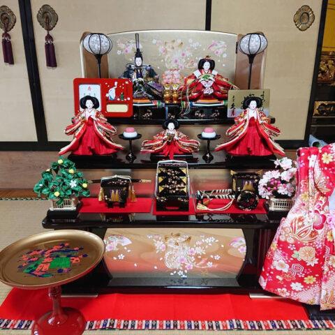 ひな人形 久月 木製三段五人飾り