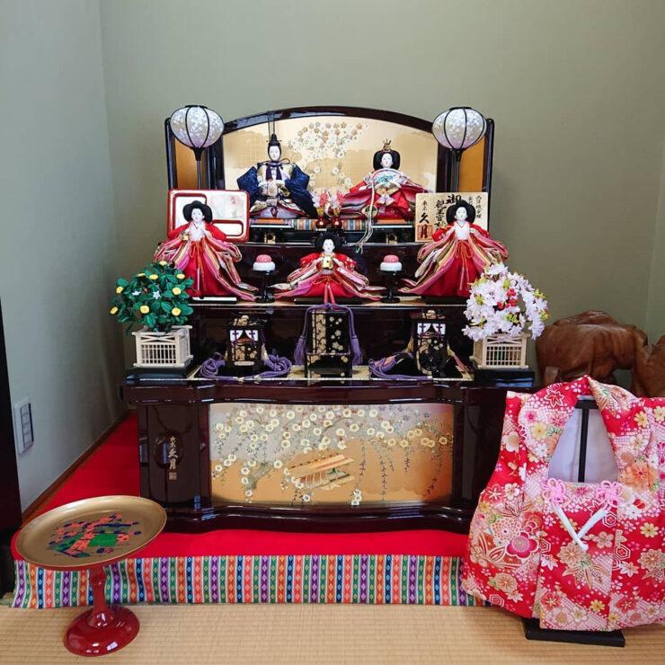 久月の木製三段五人飾り ひな人形