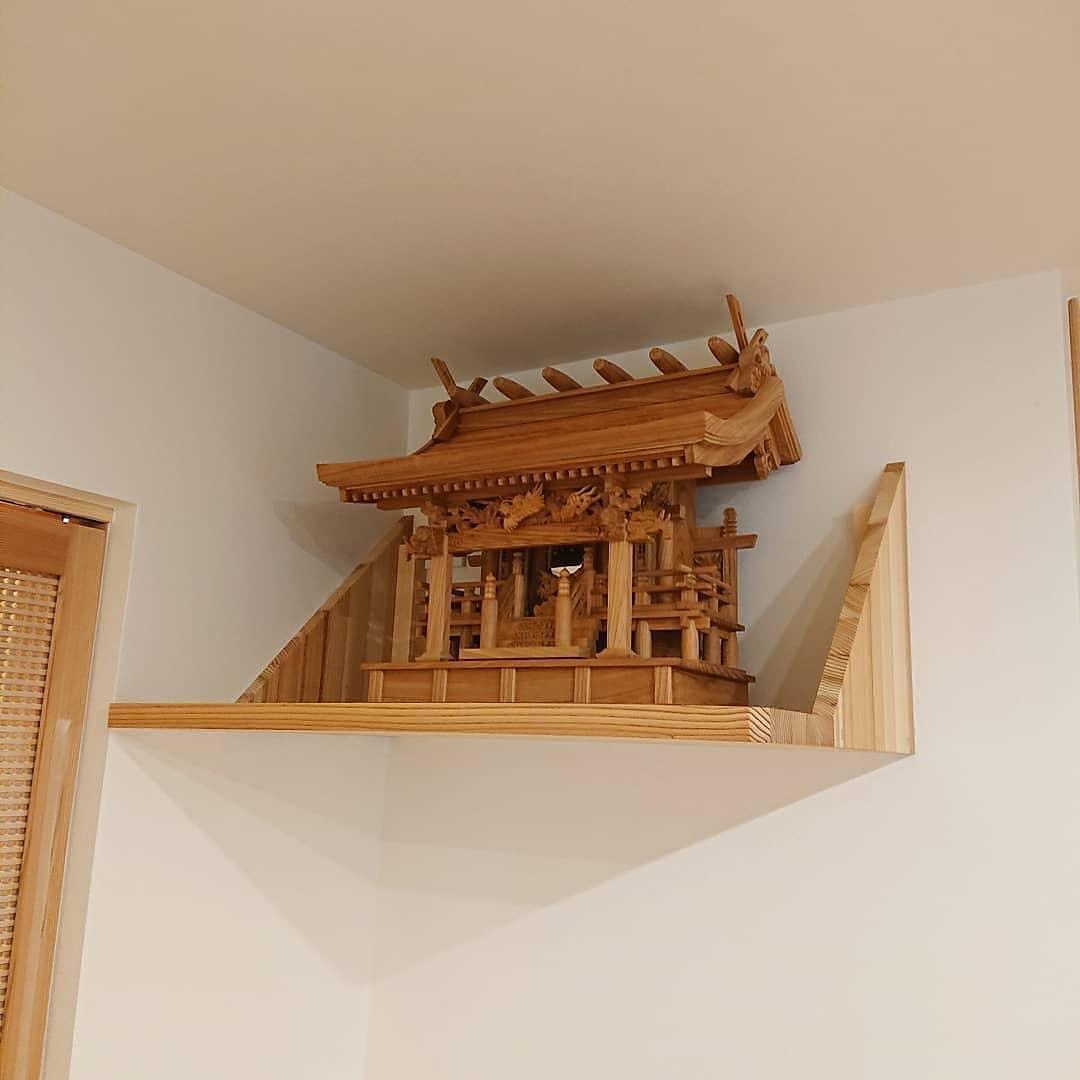 欅の神棚 流れ屋根三社神棚