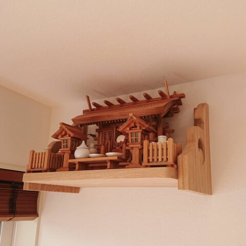 神棚セット 彫屋根三社