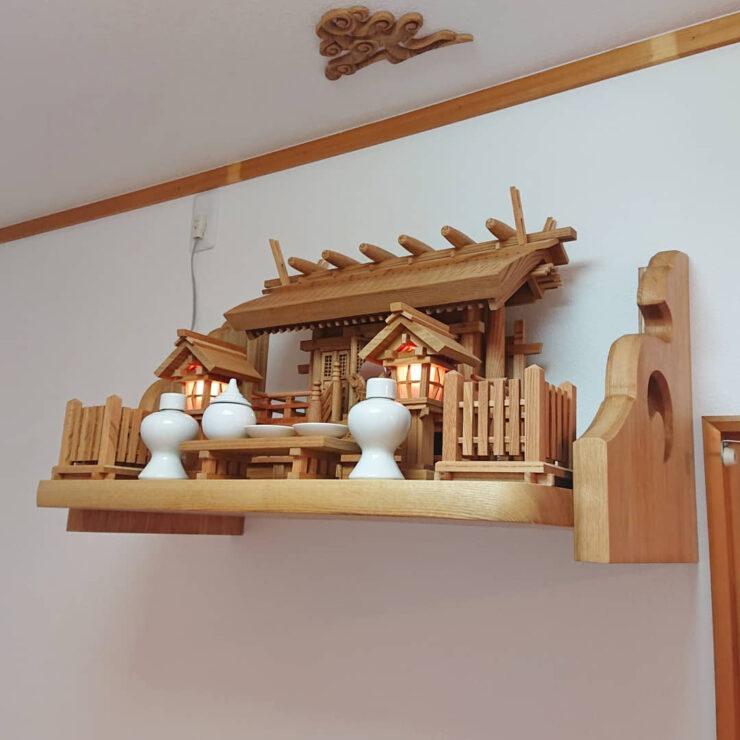 欅 彫屋根三社神棚セット